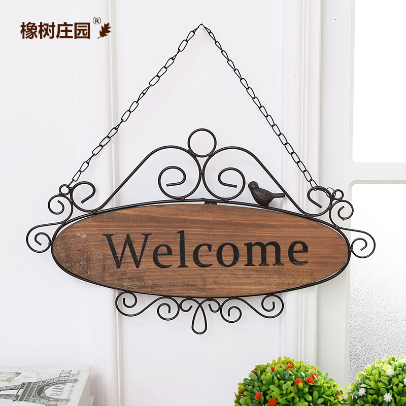 Oak manor american country wrought iron welcome to the numbers listed on the european fashion clothing store coffee