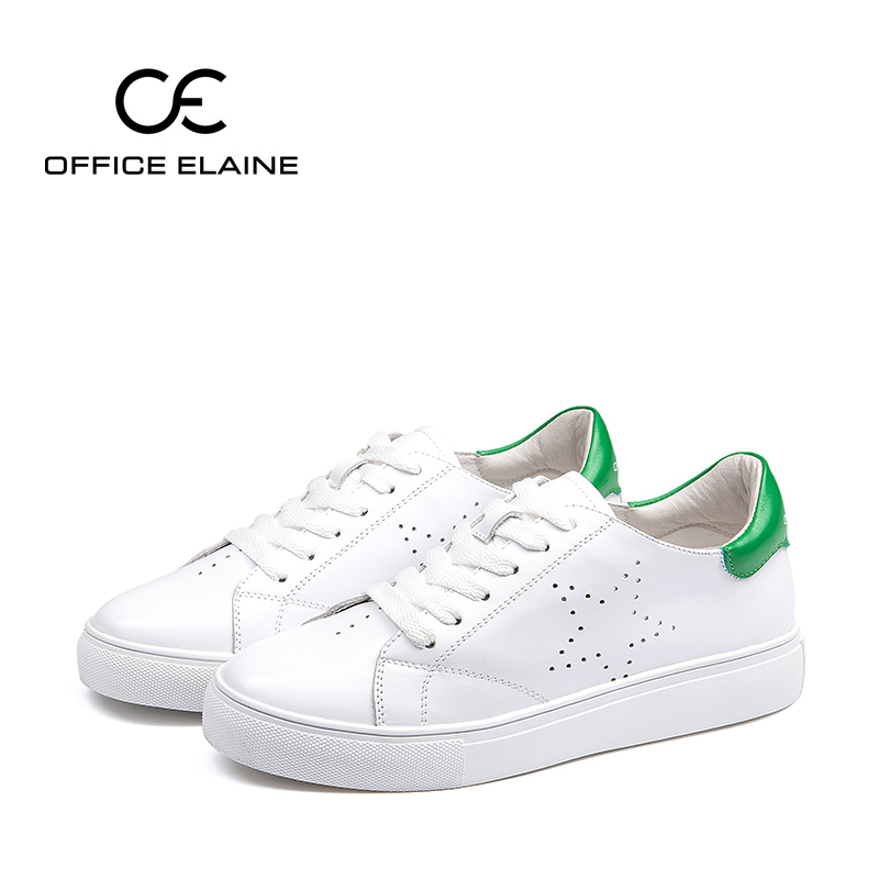 Oe europa 2016 spring new korean version of casual flat first layer of leather female sports shoes thick crust small white shoes women