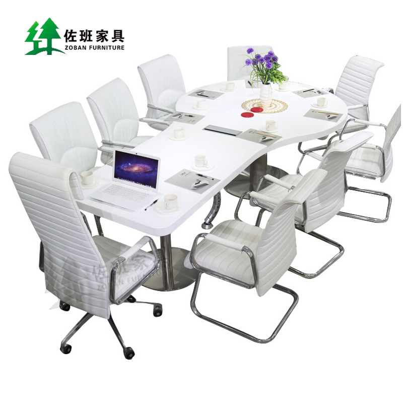 Get Ations Office Furniture Modern Minimalist Fashion White Paint Racket Shape New Conference Table Long Combination Bar