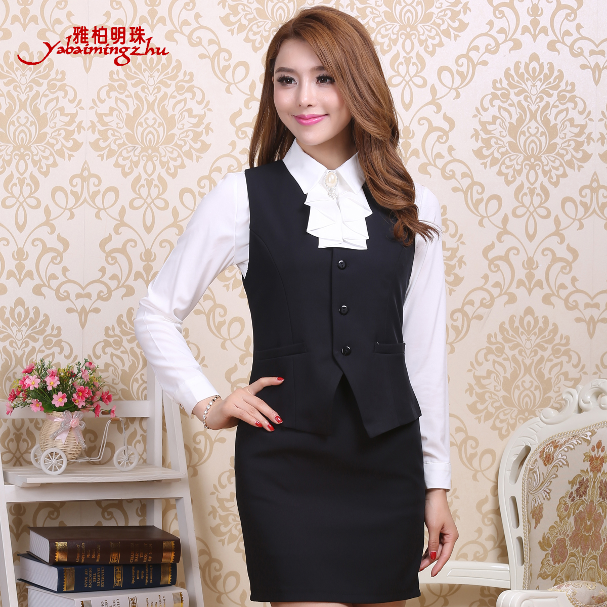 Office of the bank hotel uniforms vest miss ma jia autumn black slim vest vest vest women wear