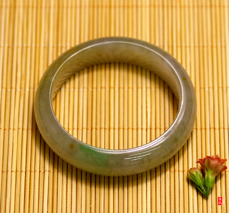 ~ Old crater burma jade a cargo of natural jade bracelet ice waxy kinds of ice yellow + yang green bracelet/ring opening 56 /Have certificate