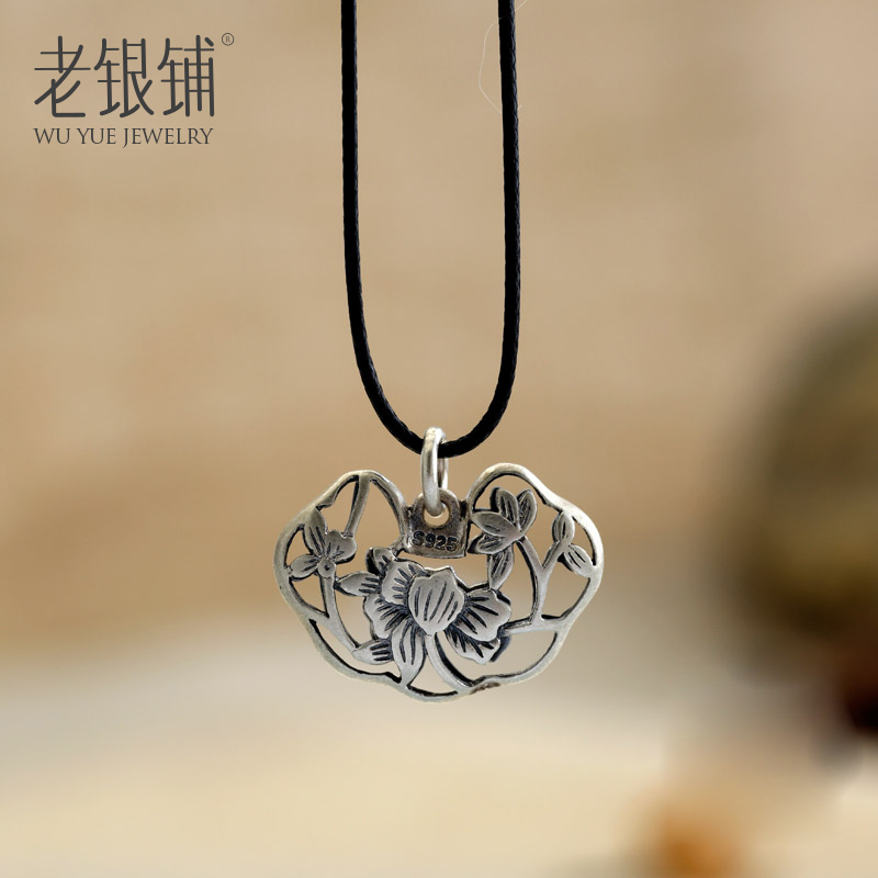 Old silver shop s925 silver necklace female short paragraph clavicle silver necklace silver necklace female retro elderly gift