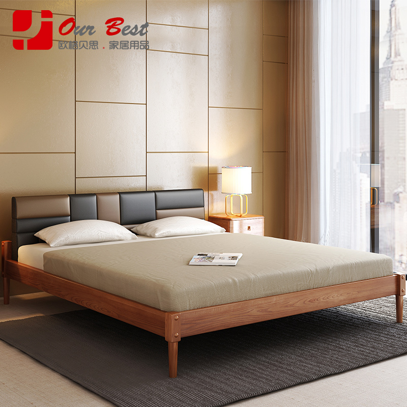 Olger beth scandinavian modern stitching soft wood double bed wood bed by 1.5/1.8 m chinese bedroom room bed