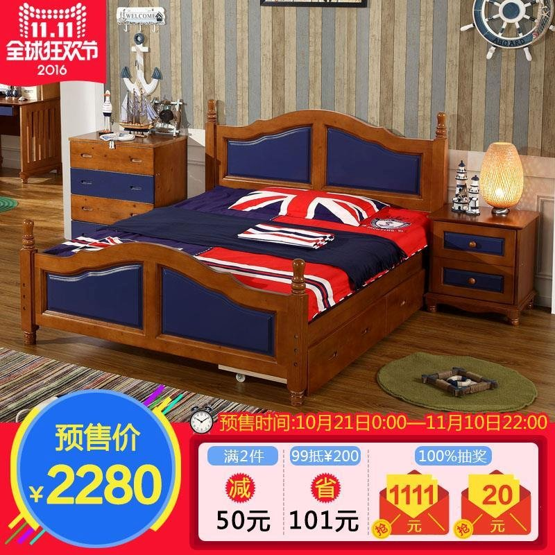 Olive otis mediterranean oak double bed 1.5 bed children's bed bed american country wood bed 1.8 m