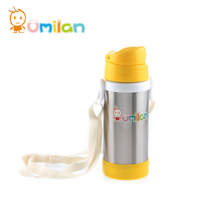 Omilan/ou milan strap style children against hot leakproof stainless steel vacuum mug cup fashion student 350 ml