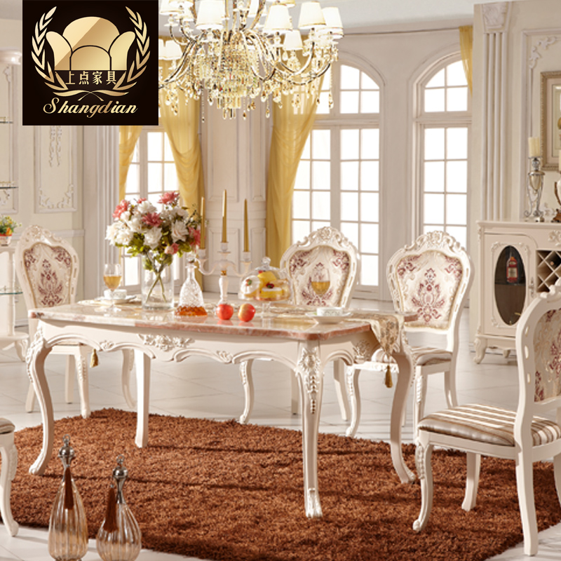 On the point of european natural marble dining table dinette combination of idyllic french dining table long table dining room furniture