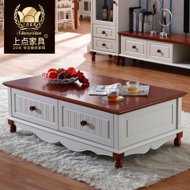 On the point of the mediterranean american country furniture coffee table coffee table long coffee table idyllic white four drawer storage coffee table coffee table