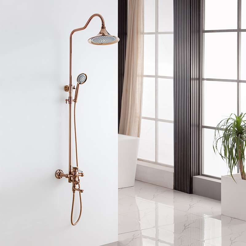 One of luda euclidian archaized euclidian rainshower shower set all copper rose gold shower