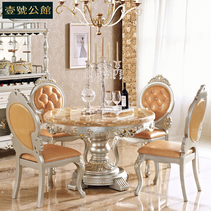 One of the mansion upscale european american wood round dining tables and chairs combination of 6 people marble dining table 816