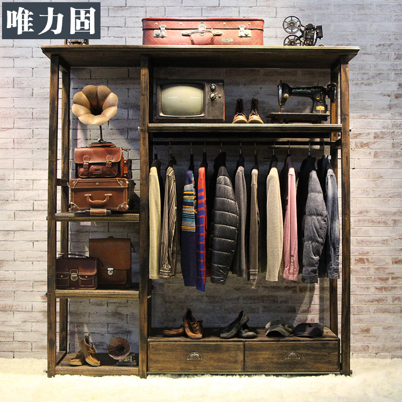 Only power solid clothing store display racks vintage wood display cabinet shelf floor display rack clothing store