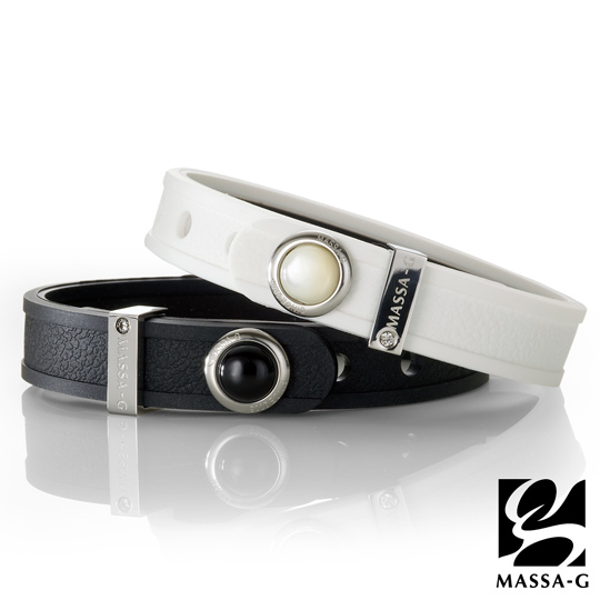 Only you only u MASSA-G x deco germanium titanium bracelet-natural stone grain leather