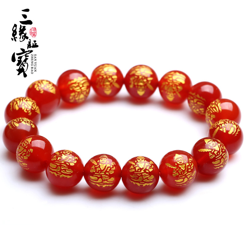 Open light red agate akasagarbha zodiac ox tiger patron saint of sheep big day tathagata buddha bracelet natal men and women