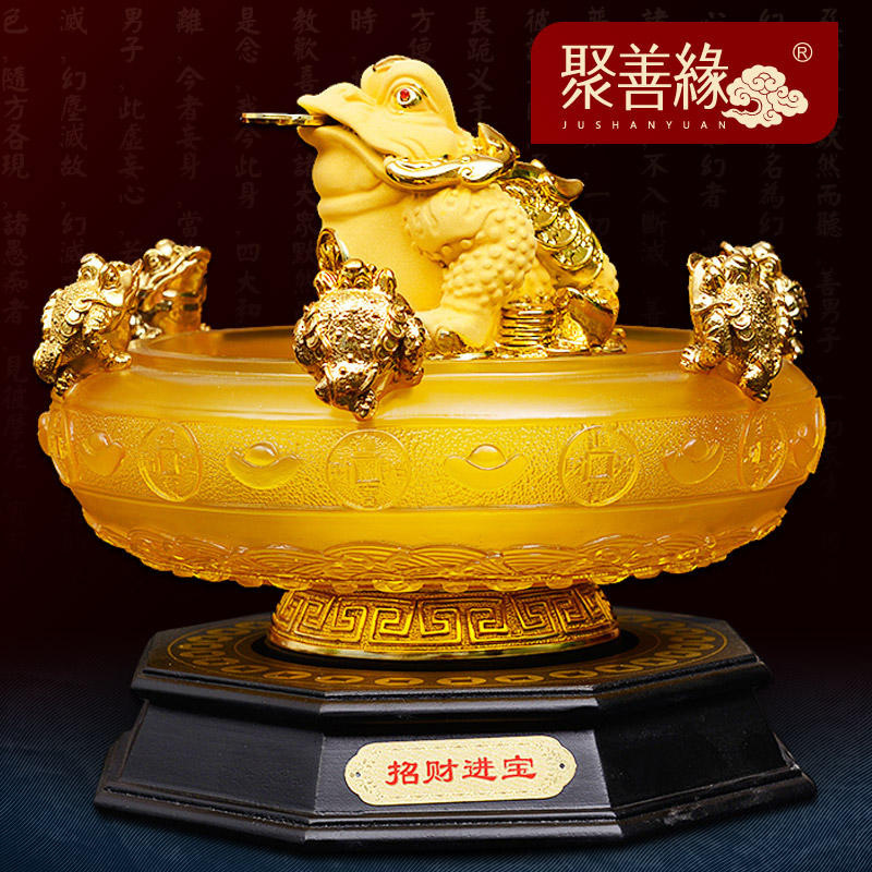 Opening cornucopia ornaments lucky toad cicada brave gold bullions moneymaker opened business gifts office feng shui