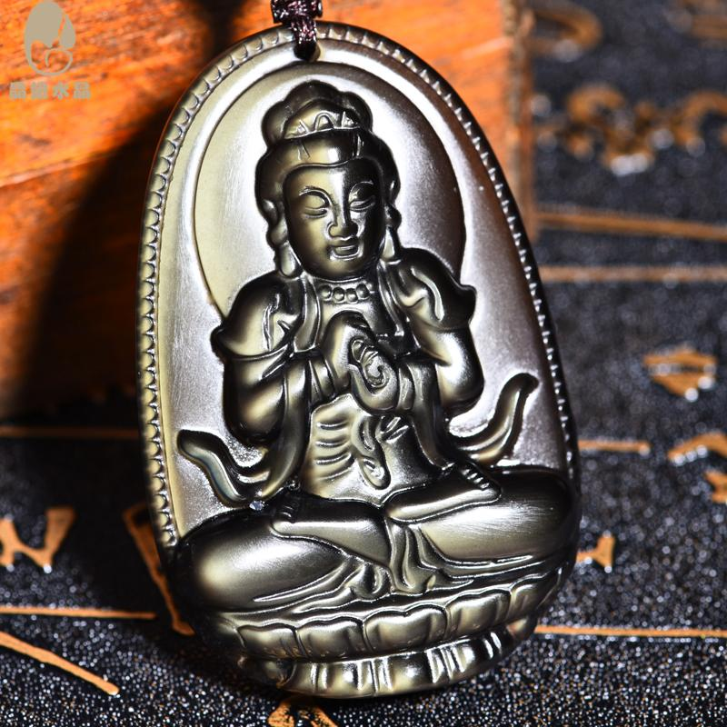 Opening of the ice color of obsidian pendant big day tathagata crystal girl pendant sheep monkey natal buddha pendants patron saint