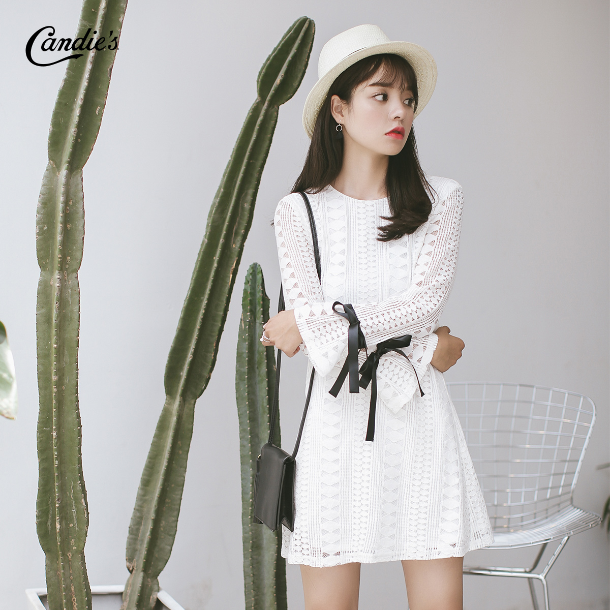 [Opening price free shipping] sweet white lace dress 2016 autumn new sweet openwork lace