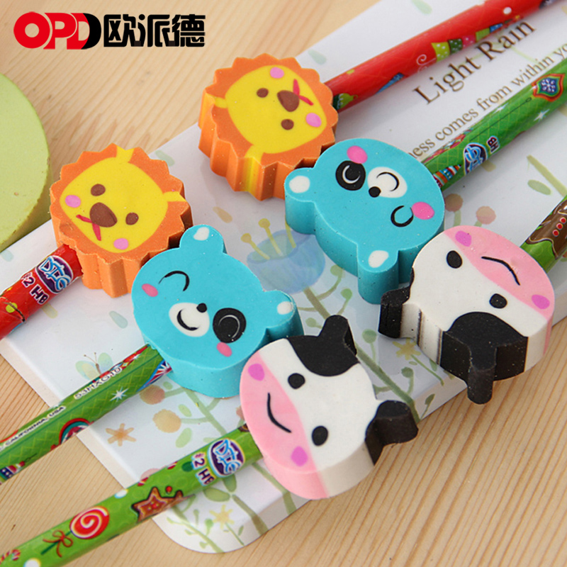 Opie germany and japan korea creative stationery cute cartoon animal head pencil eraser pupils prize gift