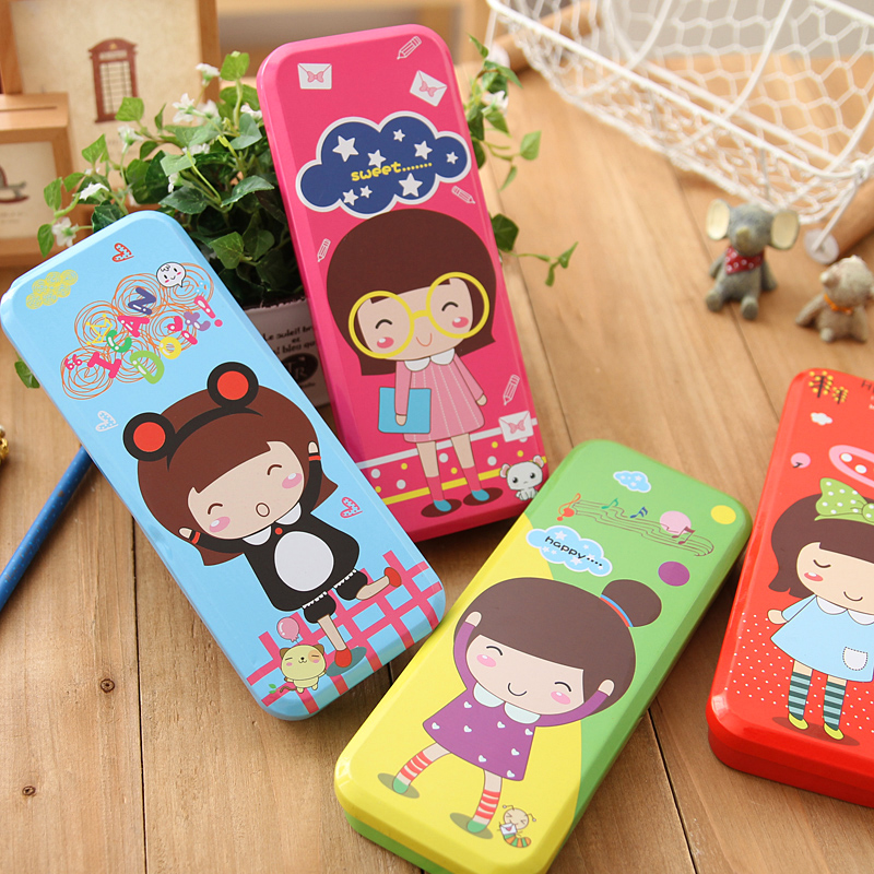 Opie germany and japan korea creative stationery large capacity double iron stationery beautiful girls cute storage box pencil cases