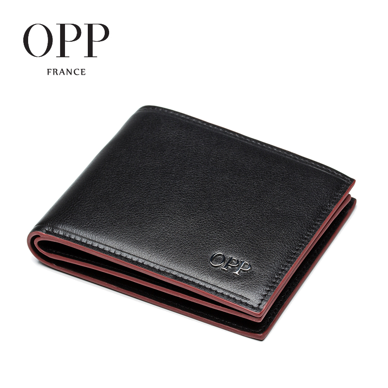 Opp youth 2016 european and american fashion first layer of leather short wallet card bit more wallet men's wallet card package tide
