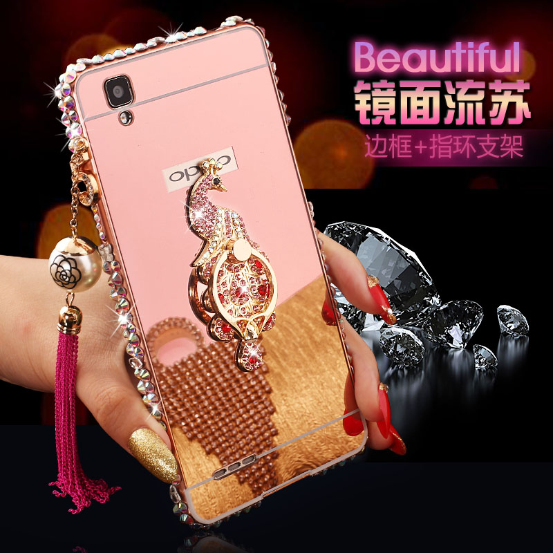 Oppo a35t oppoa35m a35 phone shell protective sleeve metal frame rings glossy outer shell drill female tassels