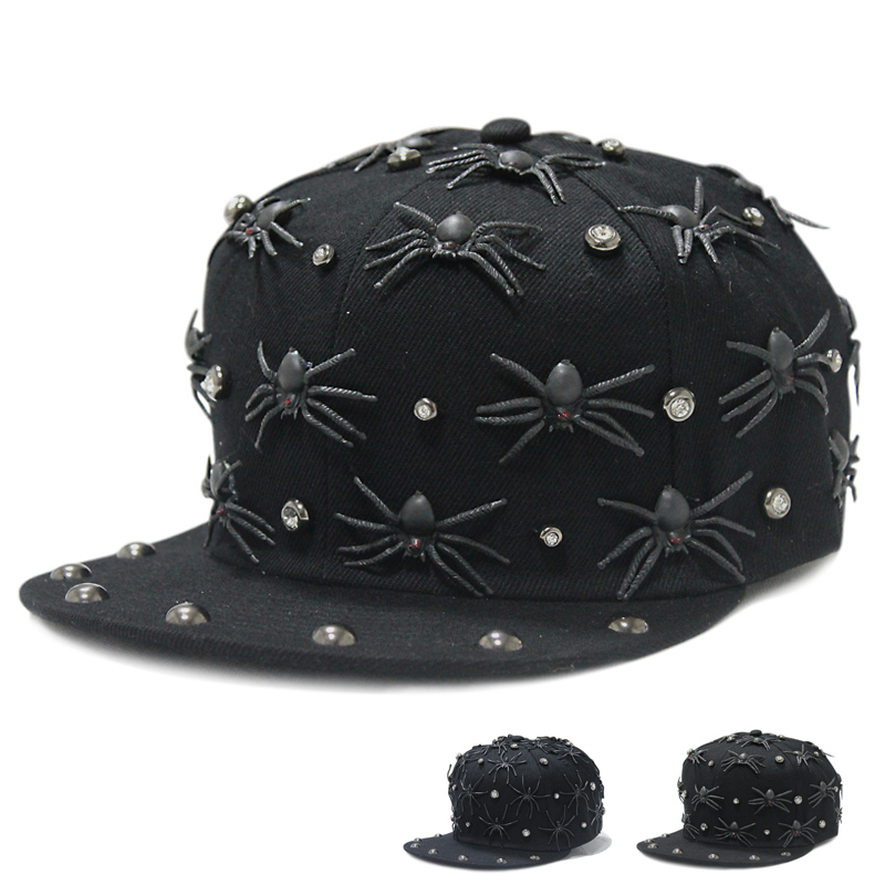 Optional letter hiphop hip hop rivet european and american punk style spider baseball cap bboy hip-hop cap flat along the influx of people men and women
