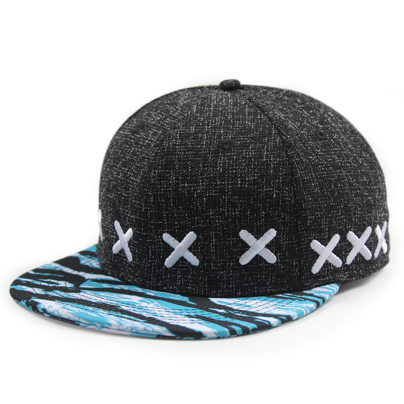 Optional letter number xx european and american punk style cotton embroidered flat brimmed hat black and blue hat printing hip hop hip-hop hat cap influx of people