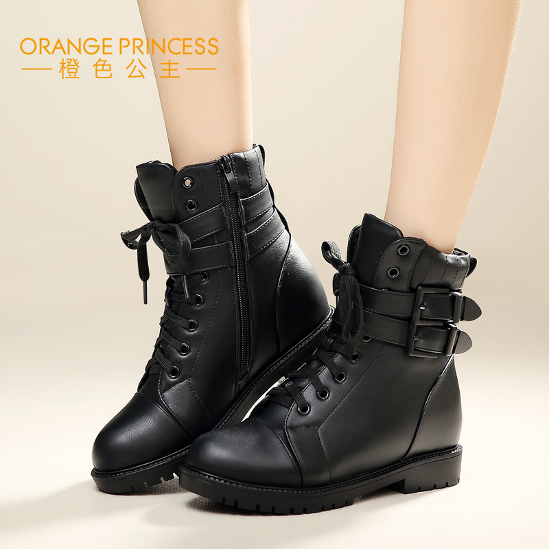 Orange princess 2015 autumn and winter fashion in europe and america with flat boots flat boots female boots boots martin boots motorcycle boots