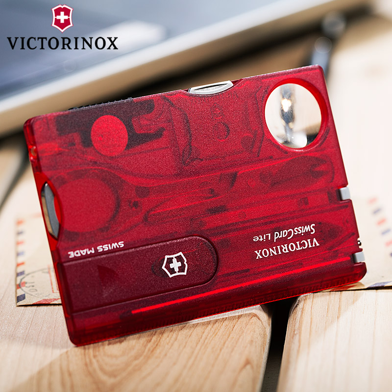 Original genuine victorinox swiss army knife rui shika transparent red swiss army knife card portable 0.7300.t