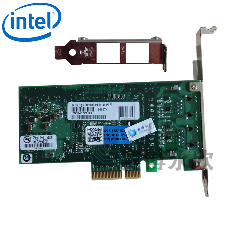 Original intel intel gigabit ethernet expi9402ptblk dual power port server nic O1000PT pr
