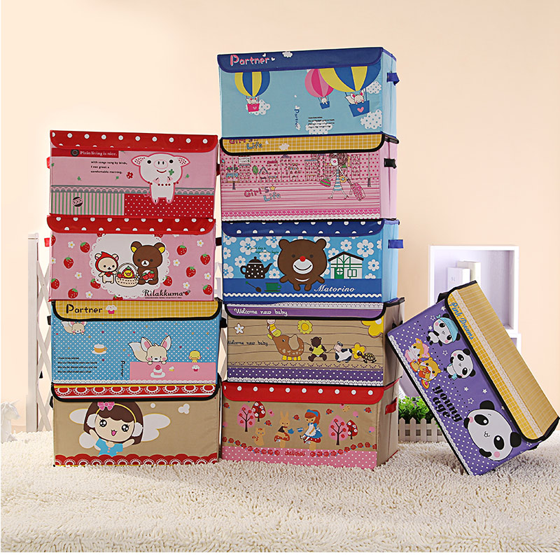 Osk thick covered storage box cloth printing cartoon children's toy storage box storage box large