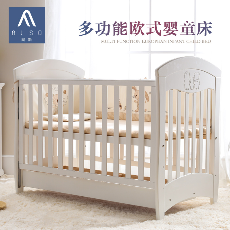 Oswald euclidian multifunction wood crib baby bed children's playpen newborn crib green can be adjusted