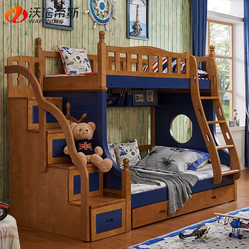 Otis warren american mediterranean children all solid wood oak bed picture bed bed bunk bed bunk bed combination of upper and lower