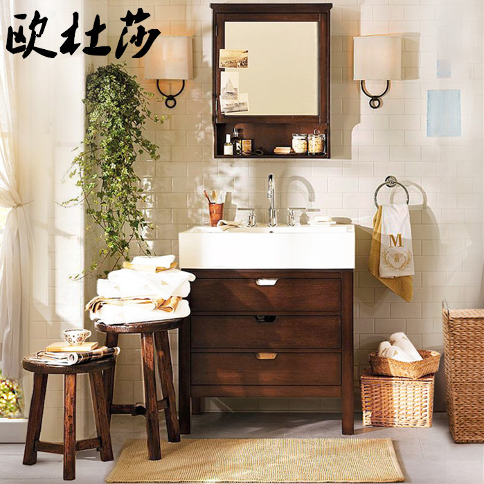 Ou dusha wood personalized small space american country bathroom cabinet wash basin ceramic basin bathroom cabinet mirror cabinet portfolio