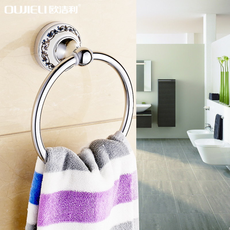 Ou li jie bathroom toilet blue and white ceramic stainless steel towel ring towel ring bathroom hardware