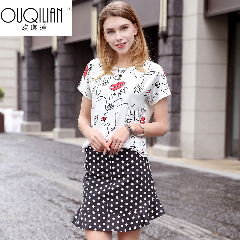 Ou qi lin 2016 summer new european and american fashion printing white piece dresses women dress bi DY0007