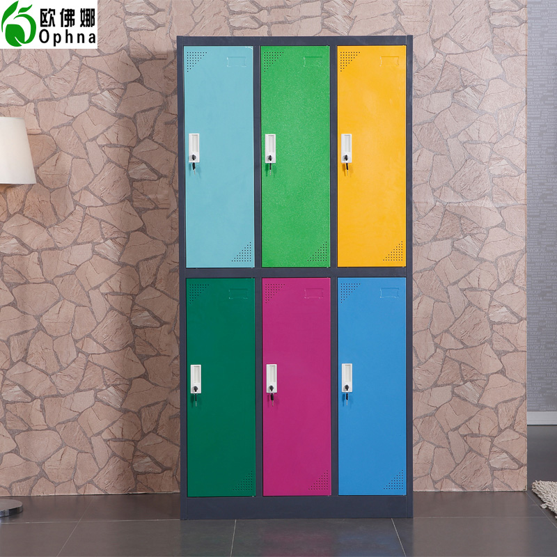 Oufo na steeliness color wardrobe cabinet disassembly six door cabinet lockable cupboard lockers staff bathroom shelf