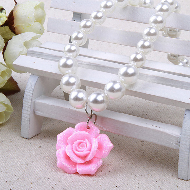Oufu ting children children korean jewelry girls jewelry crystal rose rose flower necklace bracelet