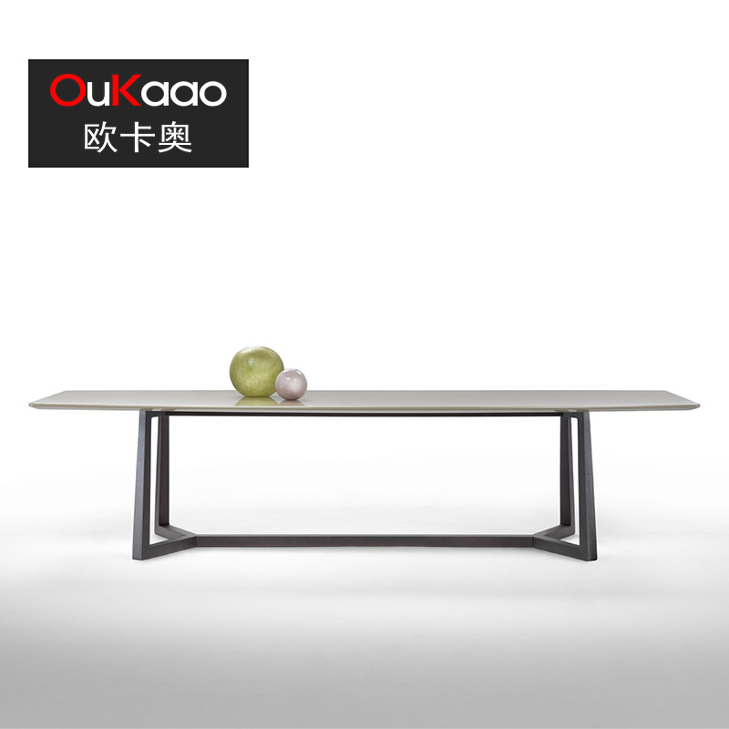 Ouka ao scandinavian design modern high ash solid wood dining table marble dining table custom coffee restaurant long dining table