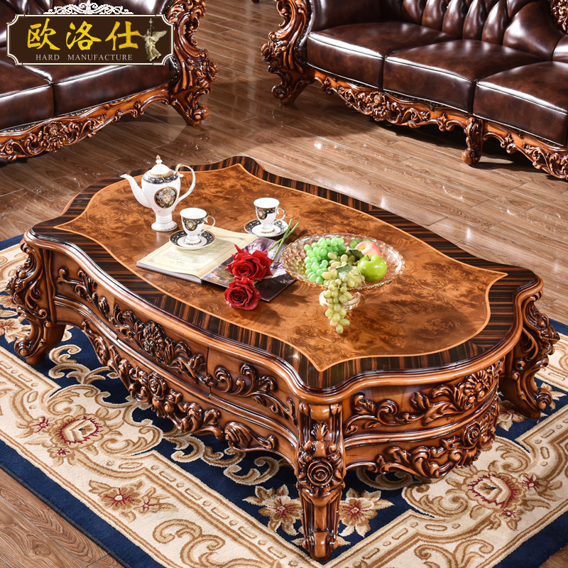 Ouluo shi large american coffee table coffee table carved wood coffee table coffee table tea table a few square a combination of luxury models arc shape