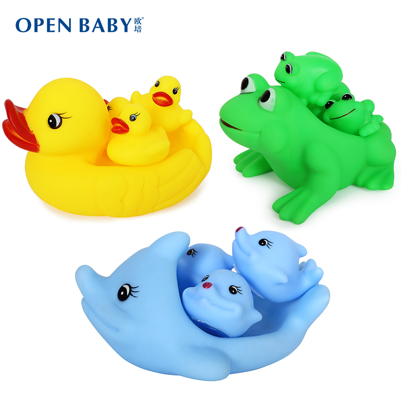 Oupei baby bath toy small yellow duck animal babies and young children playing in the water toys swimming beach toys suit