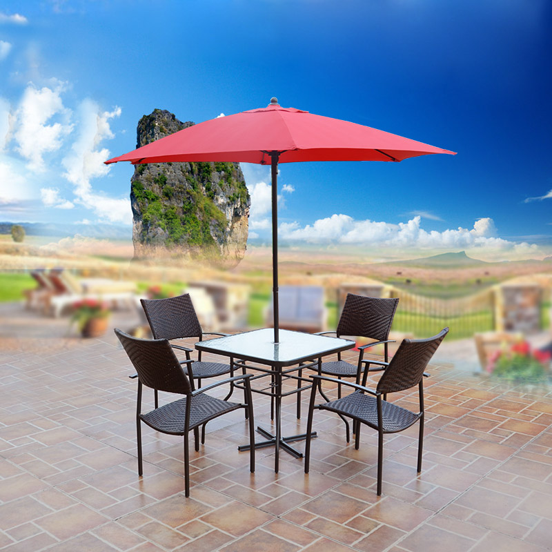 Outdoor garden patio umbrella tables and chairs combination of red umbrella suit bar cafe club furniture