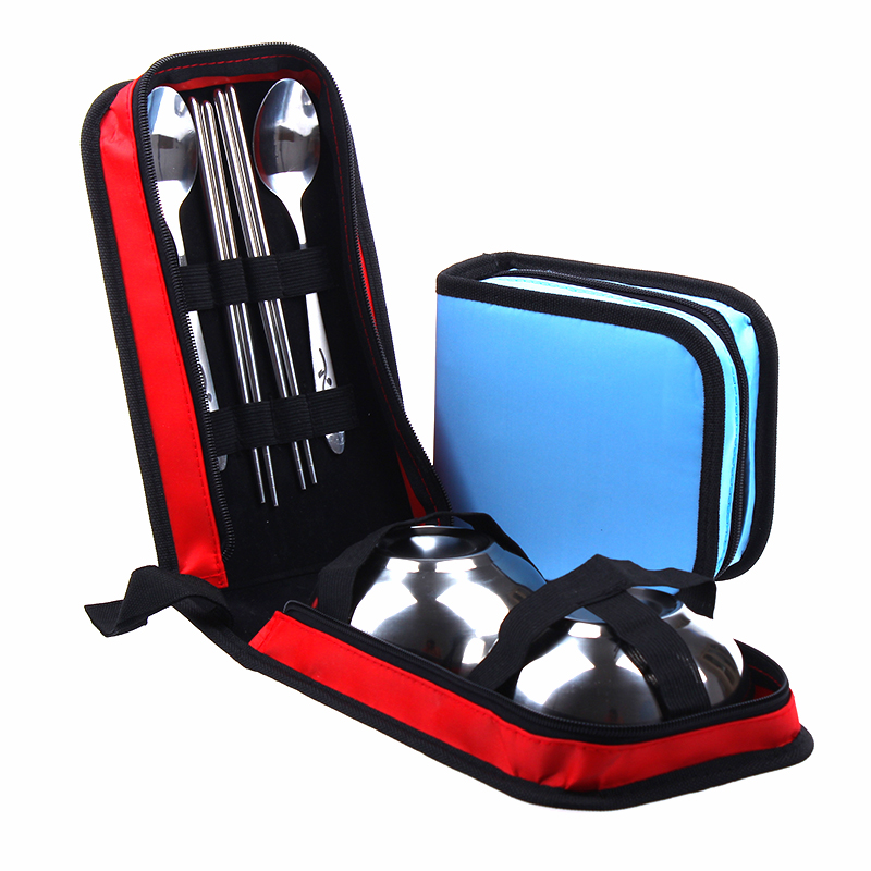 Outdoor picnic bag picnic bag picnic barbecue tools stainless steel double bowl chopsticks spoon suit cutlery sets picnic supplies