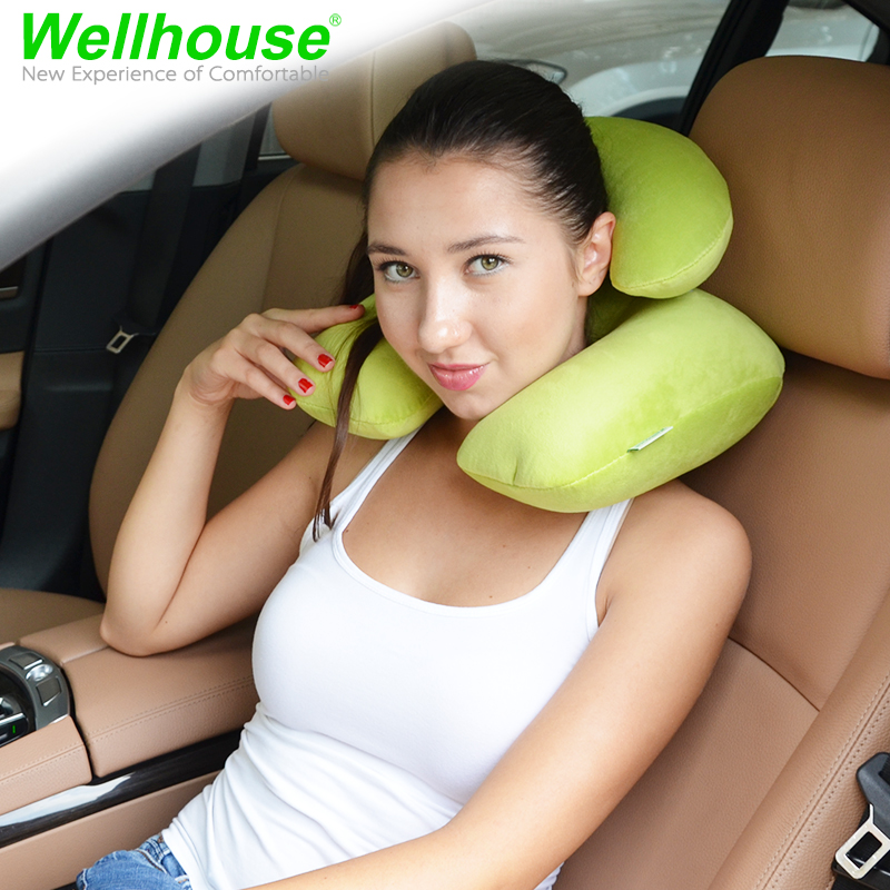 Outdoor travel neck pillow inflatable neck pillow velvet pillow picture u type inflatable travel pillow aircraft sambo u shape pillow