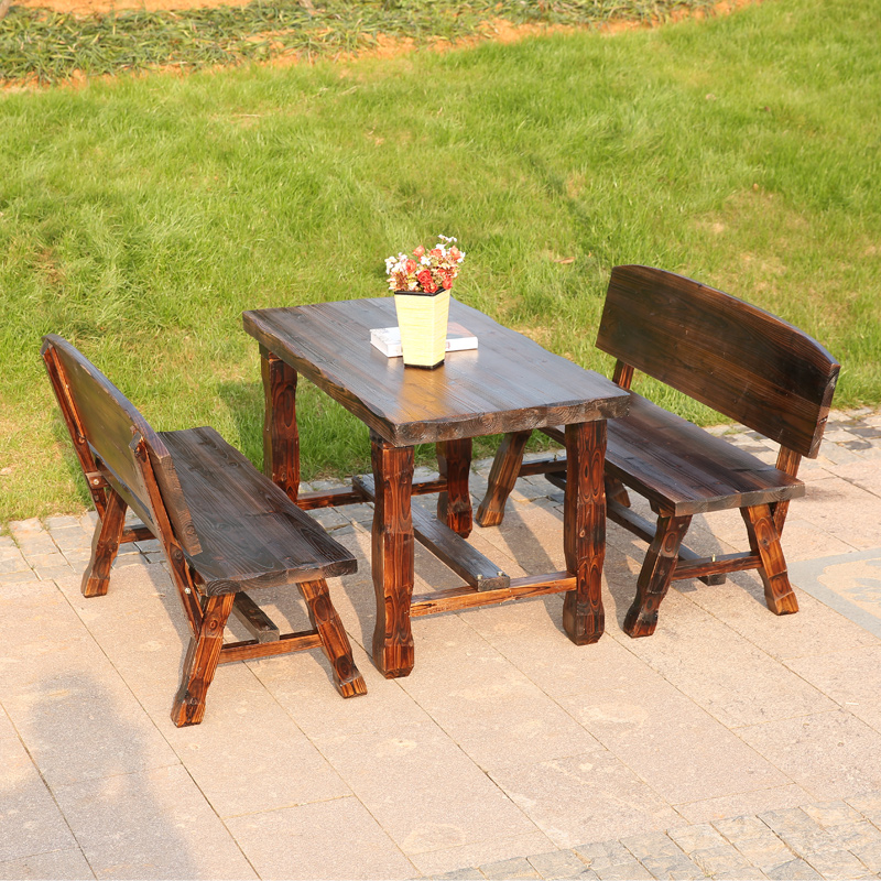 Outdoor wood preservative carbonized wood tables and chairs combination of solid wood tables and chairs for outdoor recreation courtyard terrace garden three sets