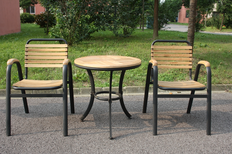 Outdoor wrought iron casual combination of solid wood tables and chairs courtyard terrace cafe tables and chairs outdoor furniture wujiantao