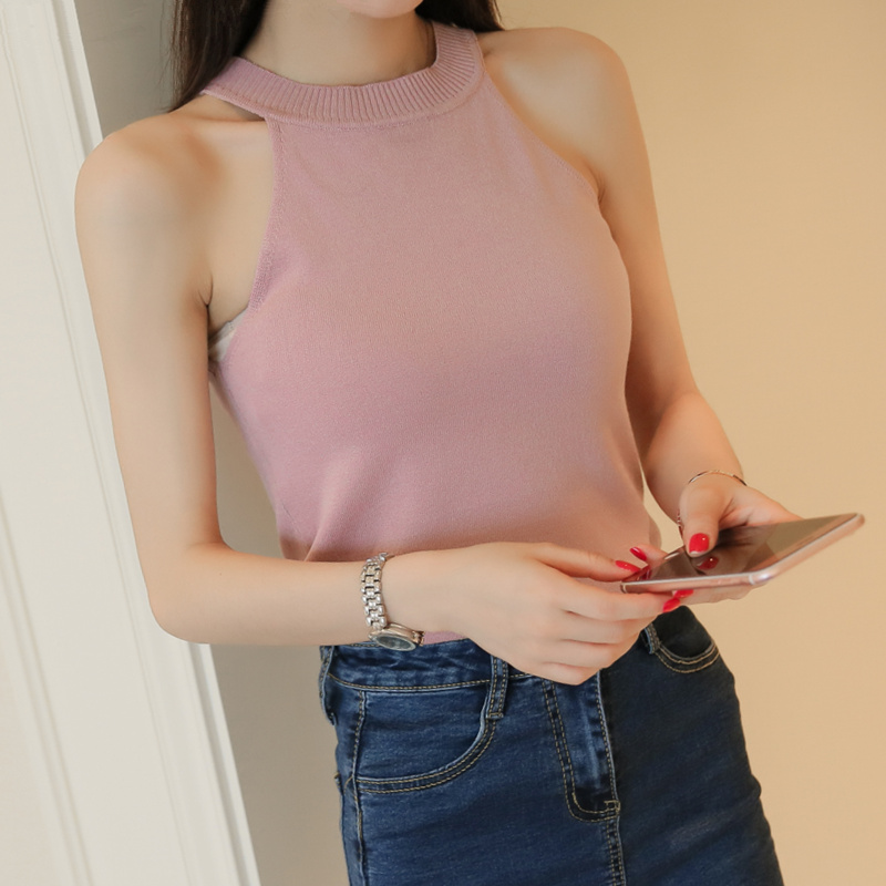 Outer wear sleeveless halter bra strapless short paragraph slim bottoming small sling back heart shirt t-shirt female summer