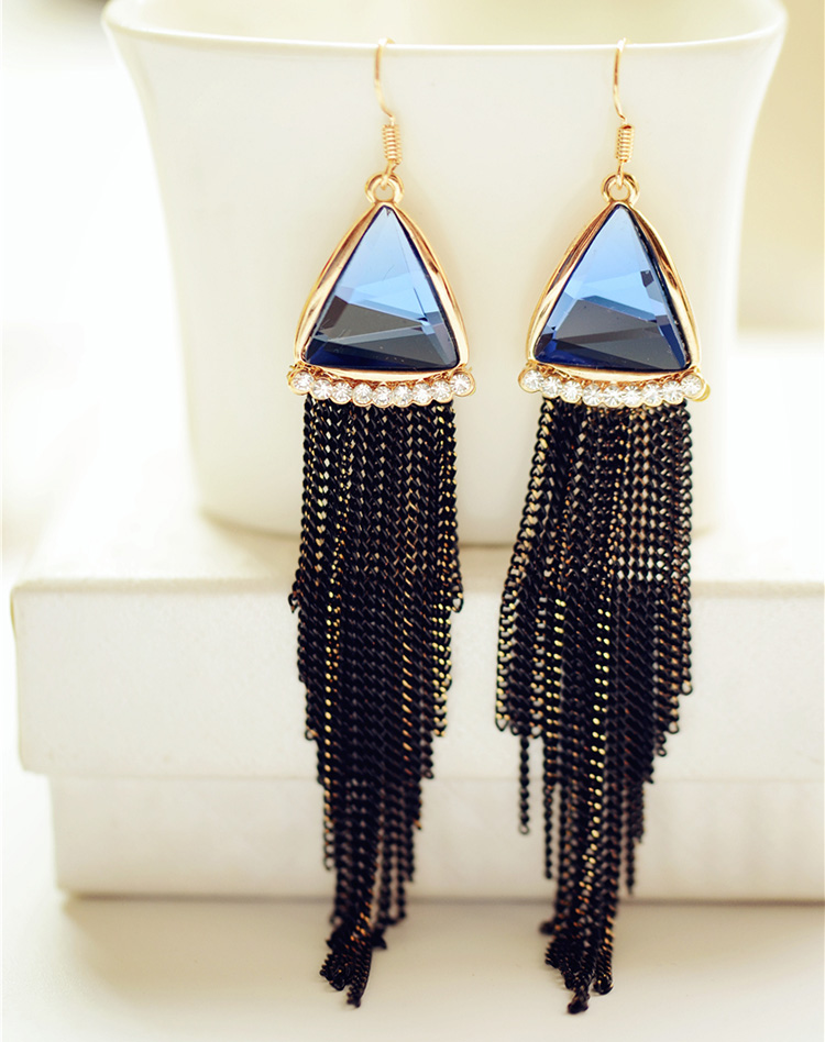 Ouya qi jewelry triangle earrings crystal tassel earrings no pierced ear clip earrings earrings female 0260