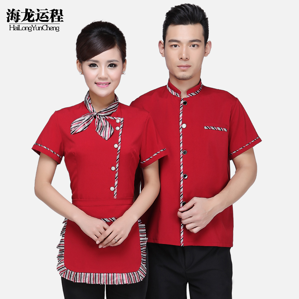 Overalls summer hotel chinese restaurant uniforms hotel overalls pot shop attendant uniforms for men and women short sleeve