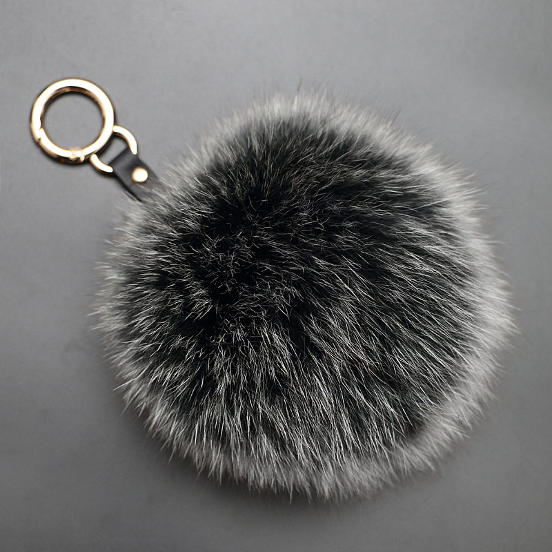 Oversized fox fur ball keychain bag hanging ornaments car pendant ms. plush fur ball pendant