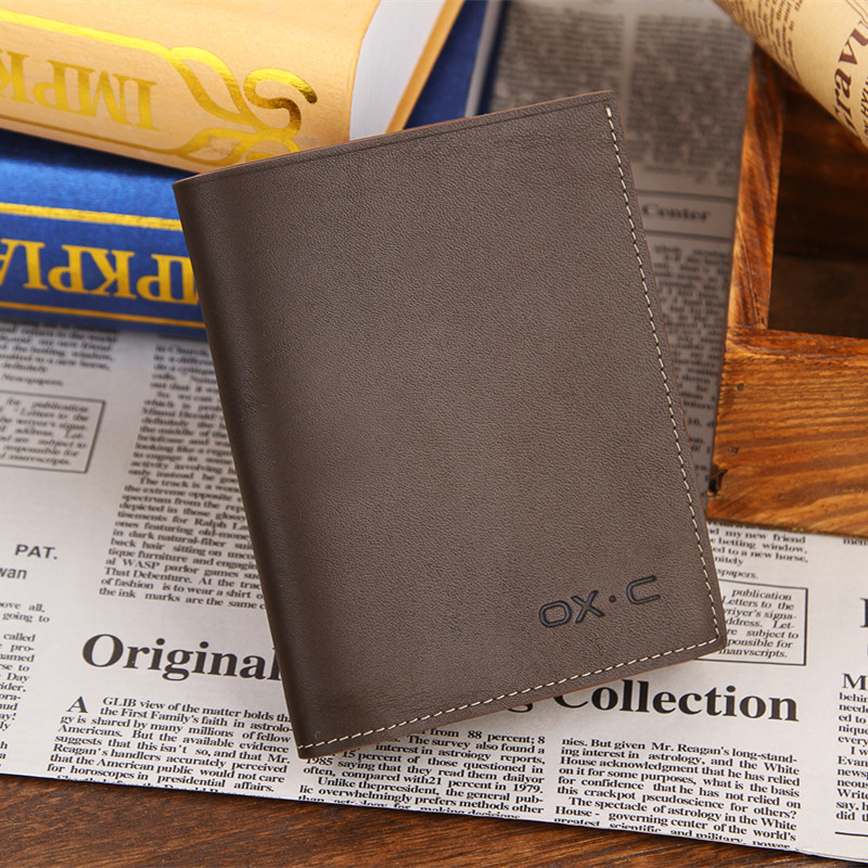 Oxc lettering men short paragraph retro leather wallet long wallet genuine leather first layer of soft leather wallet hand bags post