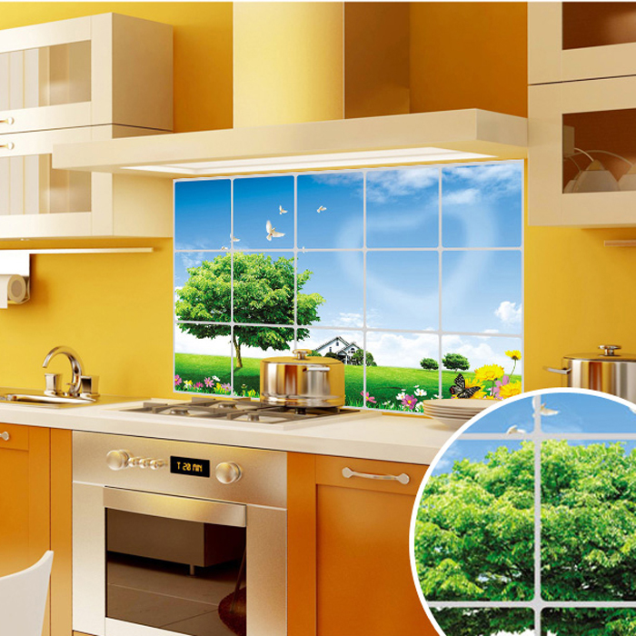 Oxfam america removable wall stickers/kitchen oil stickers landscape/painting decal stickers wall stickers high temperature aluminum foil wallpaper